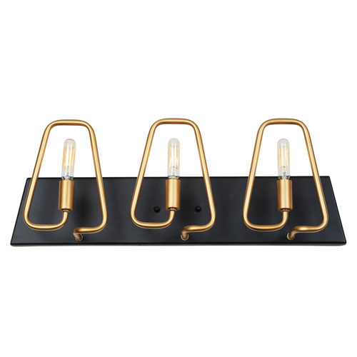 Triangulo Aged Gold and Carbon Three-Light ADA Bath Vanity