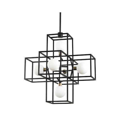 Plaza Carbon And Havana Gold Six-Light LED ADA Pendant