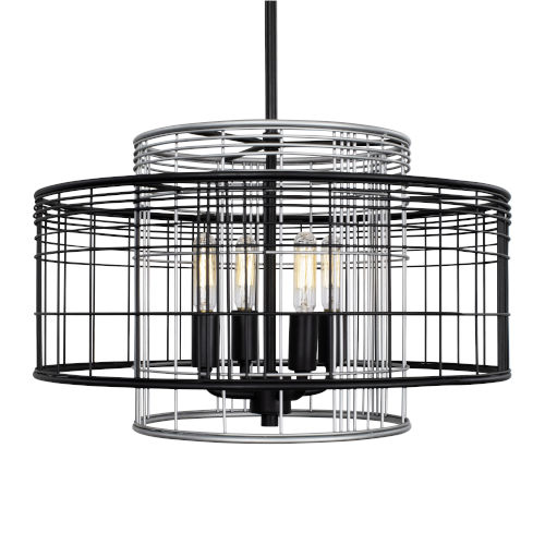 Vivienne Black and Gray 17-Inch Four-Light Round Pendant