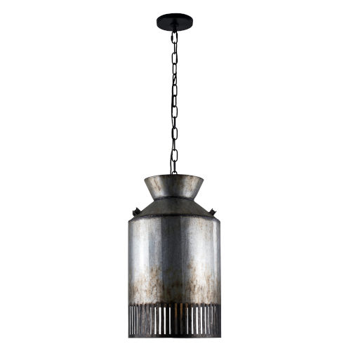 Hickory Lane Ombre Galvanized and Black One-Light Pendant