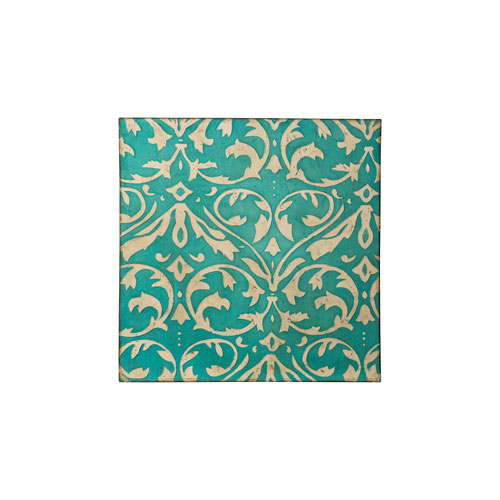 Casa Distressed Teal and Ivory Damask Trefoil Wall Art