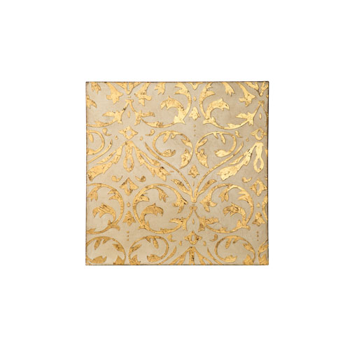 Casa Ivory and Gold Damask Trefoil Wall Art