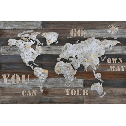 Wanderlust Multicolor Rustic World Map