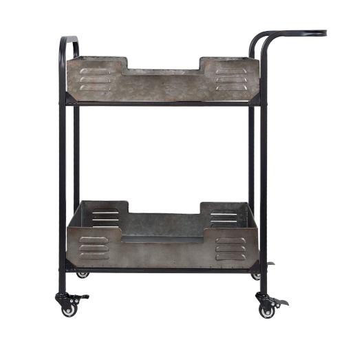 Casa Black Weathered And Galvanized Bar Cart