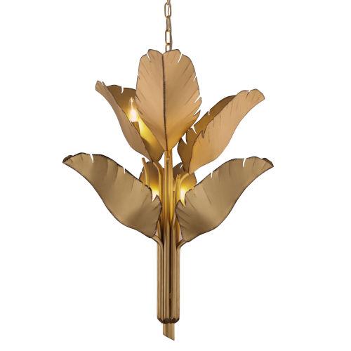 Banana Leaf Gold Six-Light Chandelier