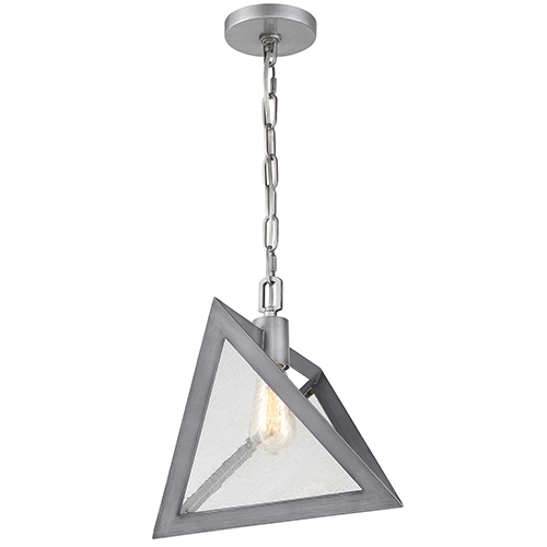 Overrule Brushed Silver Coffee Bronze One-Light Triangular Pendant