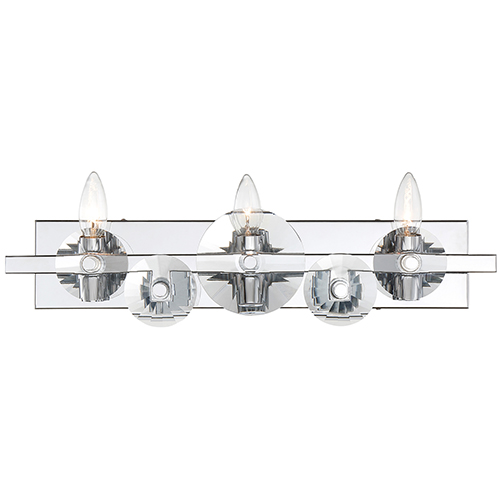 Engeared Chrome Three-Light Bath Vanity