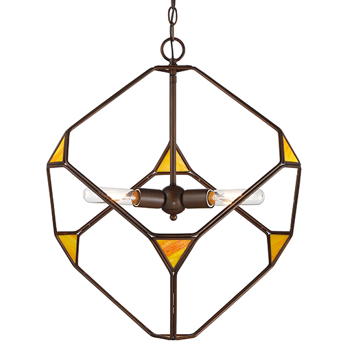 Rogue Decor Cubert Rustic Bronze Three-Light Pendant