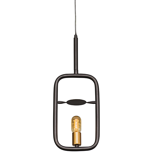 Loophole Rustic Bronze and Gold One-Light Mini Pendant