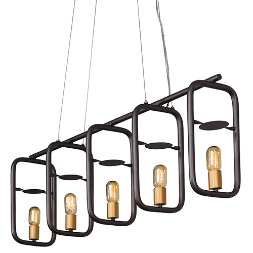 Loophole Rustic Bronze and Gold Five-Light Linear Pendant