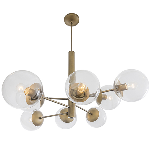 Mid-Century Antique Brass Eight-Light Chandelier