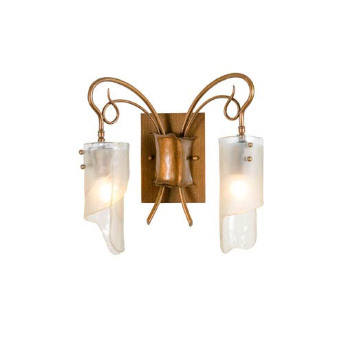 SoHo Two-Light Bath/Sconce in Hammered Ore with Brown Tint Ice Glass