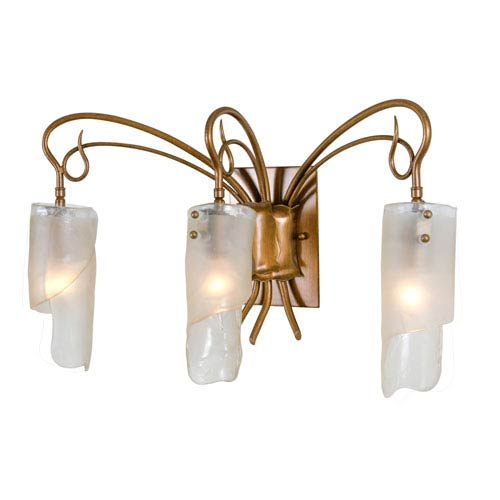 SoHo Three-Light Bath/Sconce in Hammered Ore with Brown Tint Ice Glass