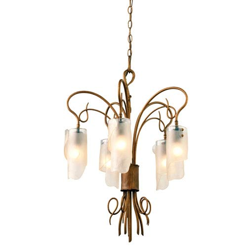 SoHo Five-Light Chandelier in Hammered Ore with Brown Tint Ice Glass
