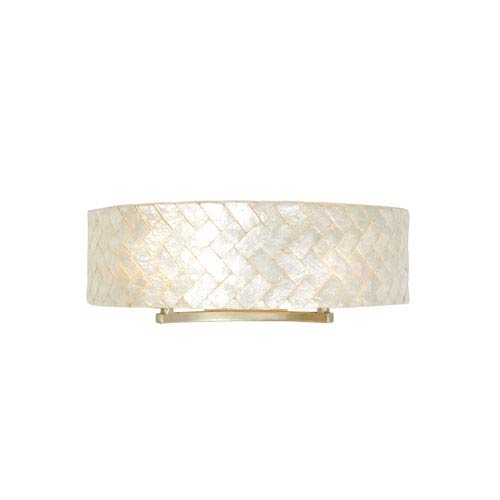 Radius Gold Dust Two-Light Bath Fixture with Herringbone Natural Capiz