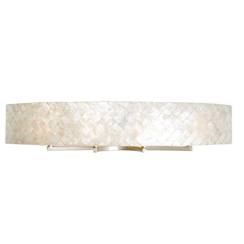 Radius Gold Dust Four-Light Bath Fixture with Herringbone Natural Capiz