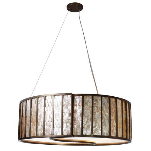 Affinity New Bronze Sustainable Shell Five-Light Drum Pendant