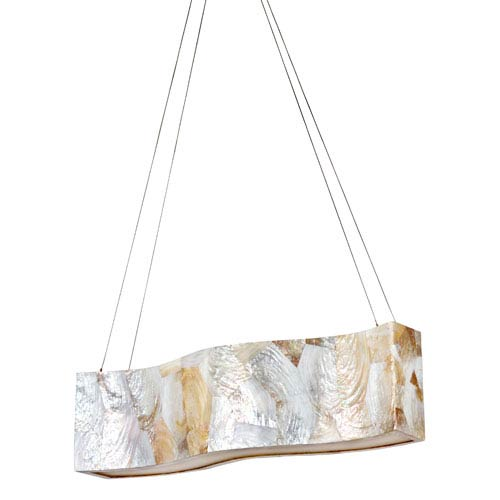 Big Four-Light Waive Linear Pendant with Reclaimed Kabebe Shell