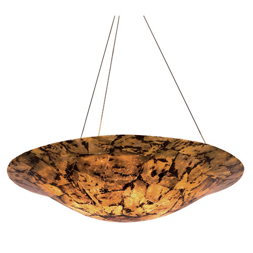 Big Four-Light Pendant with Reclaimed Chocolate Tiger Shell