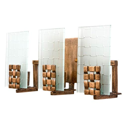 Varaluz Dreamweaver Three-Light Bath Fixture with Hand Woven Recycled Steel