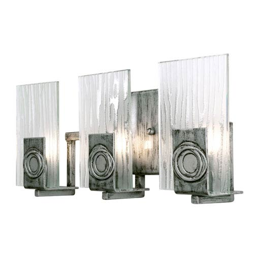 Polar Three-Light Bath Fixture with Recycled Steel and Glass