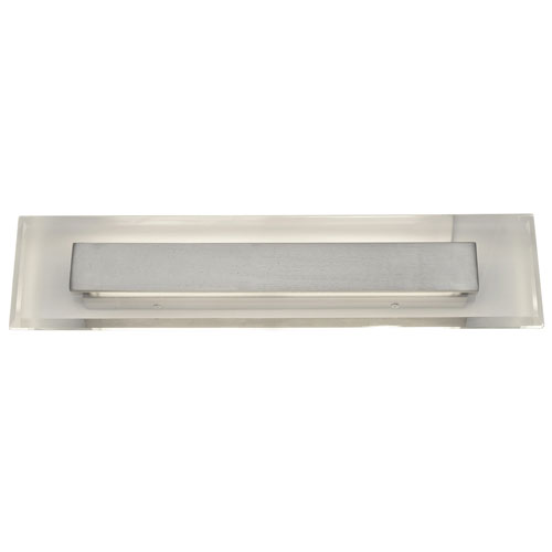 Royal Pane Satin Nickel LED Large Bath Light with Clear Chamfered-Edge Crystal