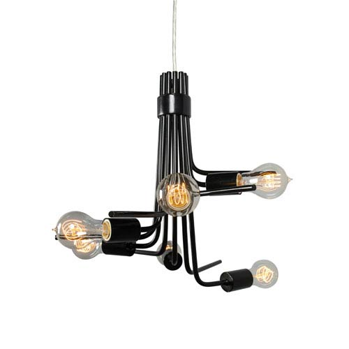 Varaluz Socket-To-Me Black Six Light Hand Forged Recycled Steel Chandelier