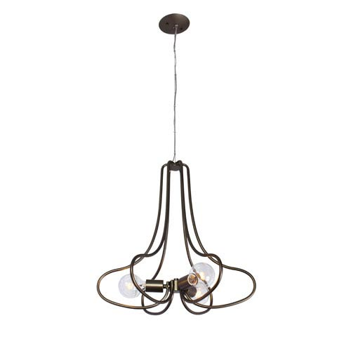 Varaluz The Whole Package New Bronze Three Light Hand Forged Recycled Steel Chandelier