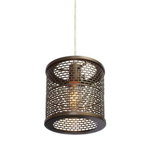 Varaluz Lit-Mesh Test New Bronze Single Light Hand Forged Recycled Steel Mini Pendant