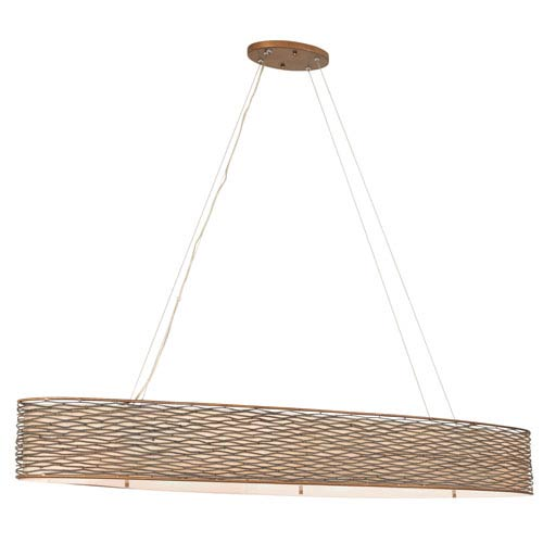 Flow Hammered Ore Six-Light Linear Pendant