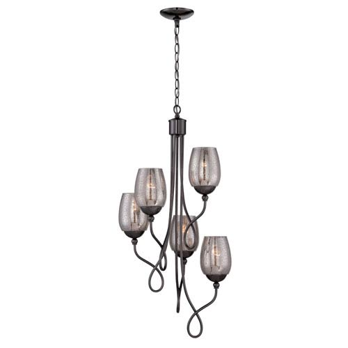 Emma Black Chrome Five-Light Mini Chandelier