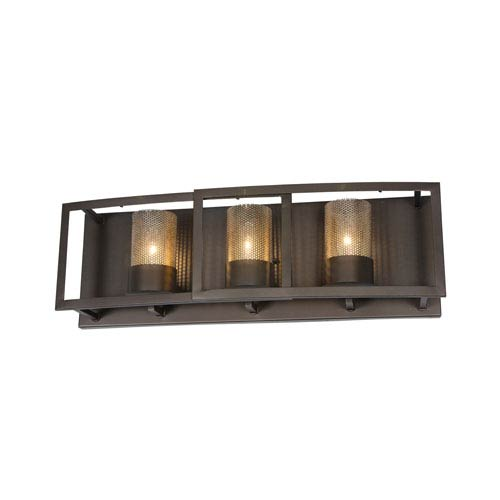 Jackson Rustic Bronze Three-Light Bath Fixture