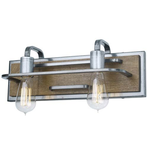 Lofty Wheat and Steel 17-Inch Two-Light Bath Sconce