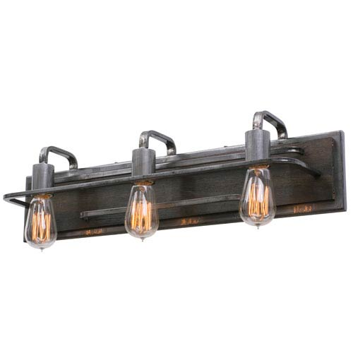 Lofty Steel Three-Light Bath Fixture
