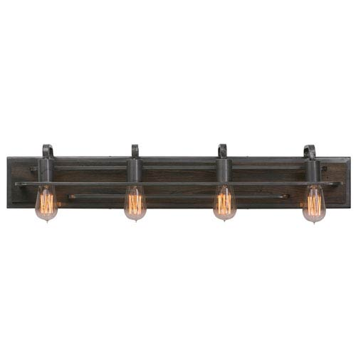 Lofty Steel Four-Light Bath Fixture