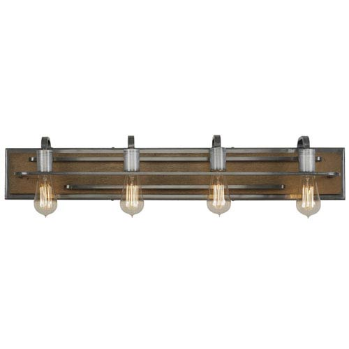 Lofty Wheat and Steel 34-Inch Four-Light Bath Sconce