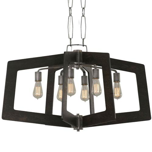 Lofty Faux Zebrawood and Steel 36-Inch Six-Light Pendant