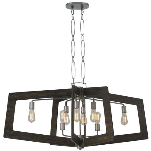 Lofty Faux Zebrawood and Steel 48-Inch Eight-Light Pendant