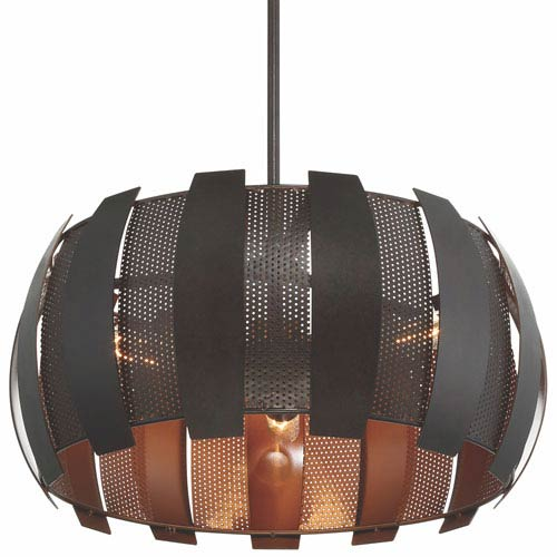 Sawyers Bar Two-Tone Copper Ore Three Light Pendant