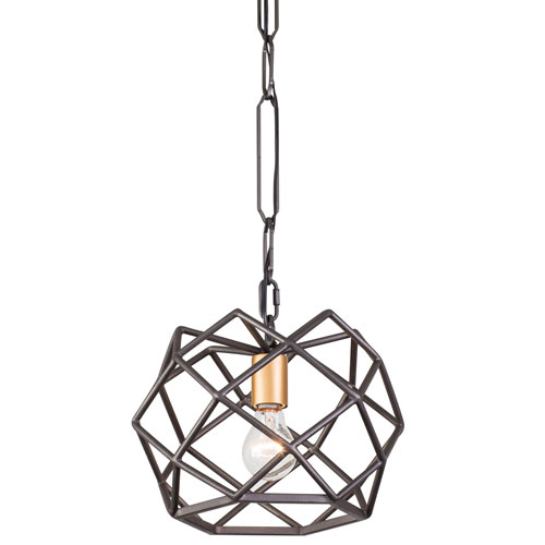 Geo Antique Gold with Rustic Bronze One-Light Pendant