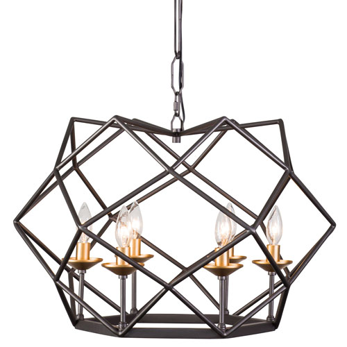 Geo Antique Gold with Rustic Bronze Six-Light Pendant