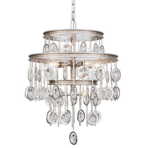 Charmed Silver with Champagne Mist Seven-Light Chandelier
