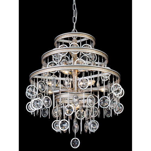 Charmed Silver with Champagne Mist Nine-Light Chandelier