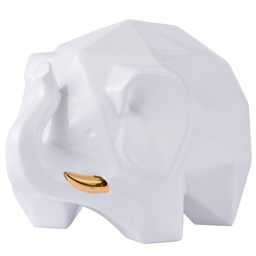 Casa Origami Zoo White with Gold Elephant Statue