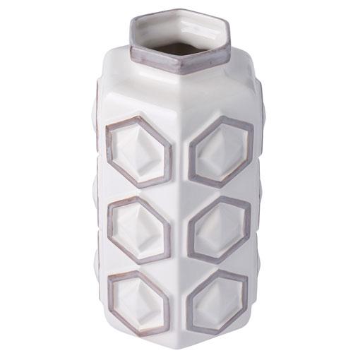 Casa Hex White With Gray Small Hex Ceramic Vase