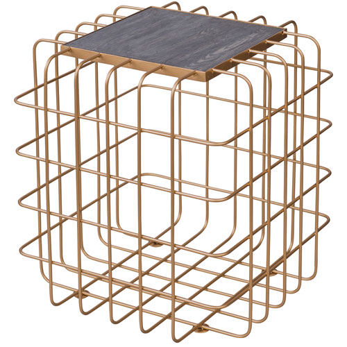 Casa Gold and Zebrawood Square End Table