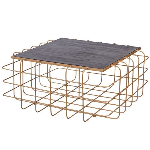 Casa Gold and Zebrawood Square Coffee Table