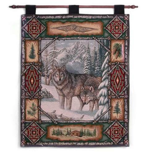 Pure Country Weavers Wolf Lodge Wall Tapestry