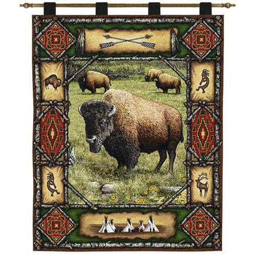 Pure Country Weavers Buffalo Lodge Wall Tapestry
