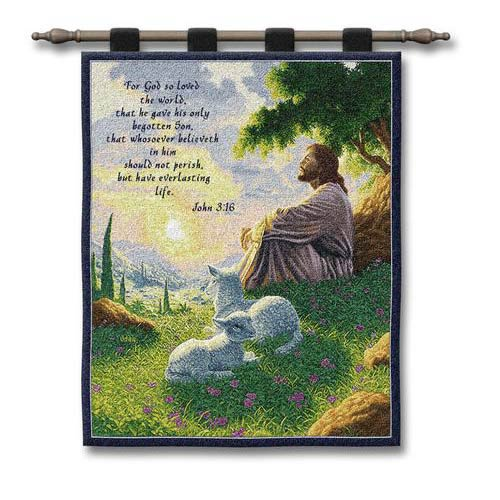 Pure Country Weavers John 3:16 Wall Tapestry